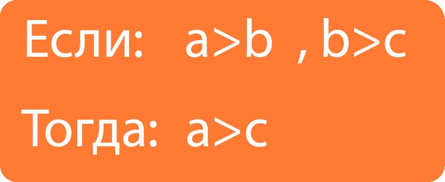 Если a больше b, и b больше с, то а больше с.