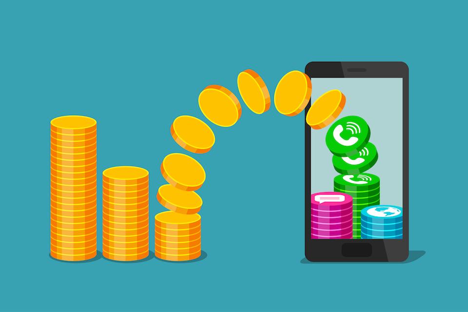 Изменение количества денежных средств на счете телефона