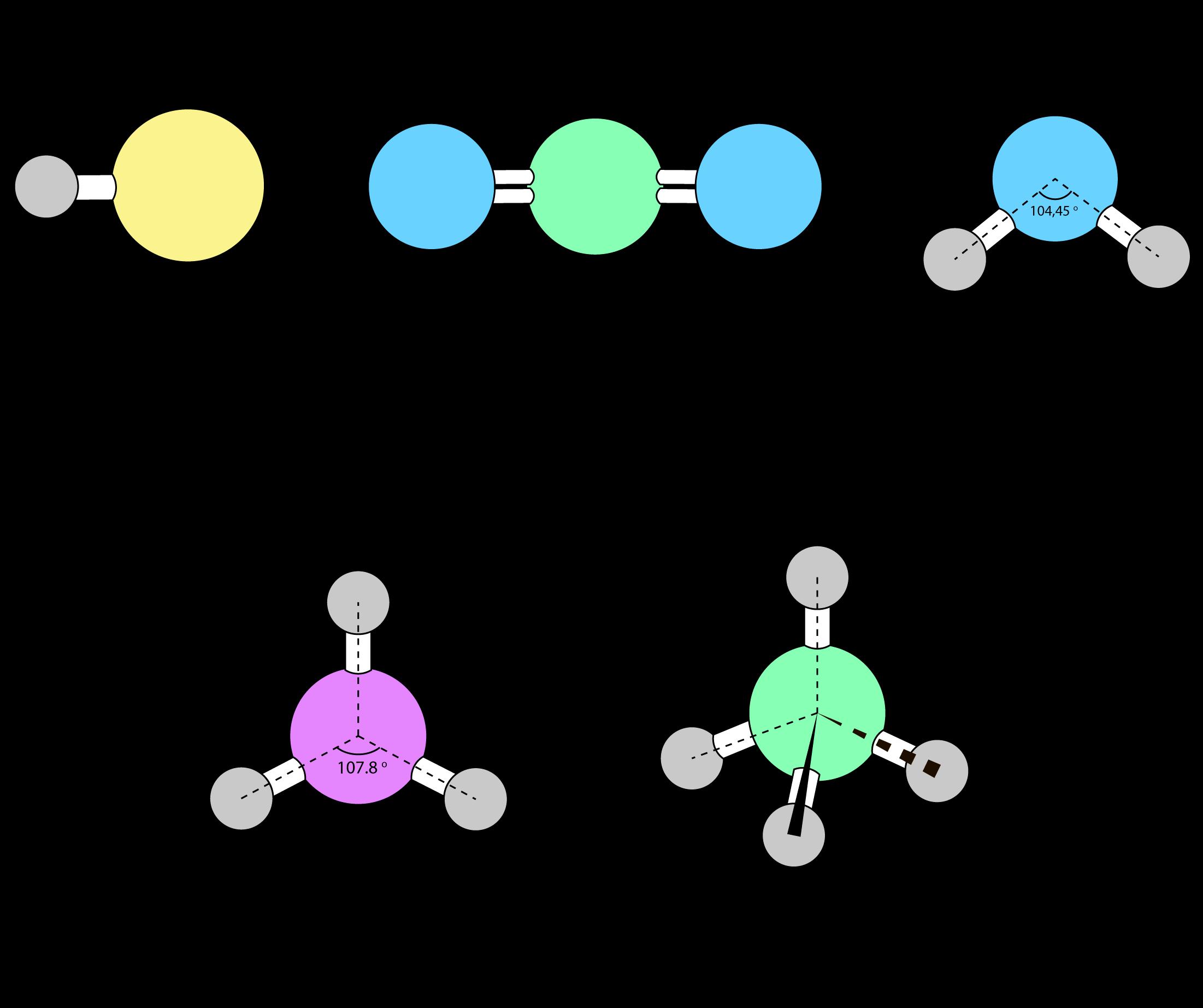 Молекулы разных веществ могут иметь линейное, угловое, пирамидальное и другое строение