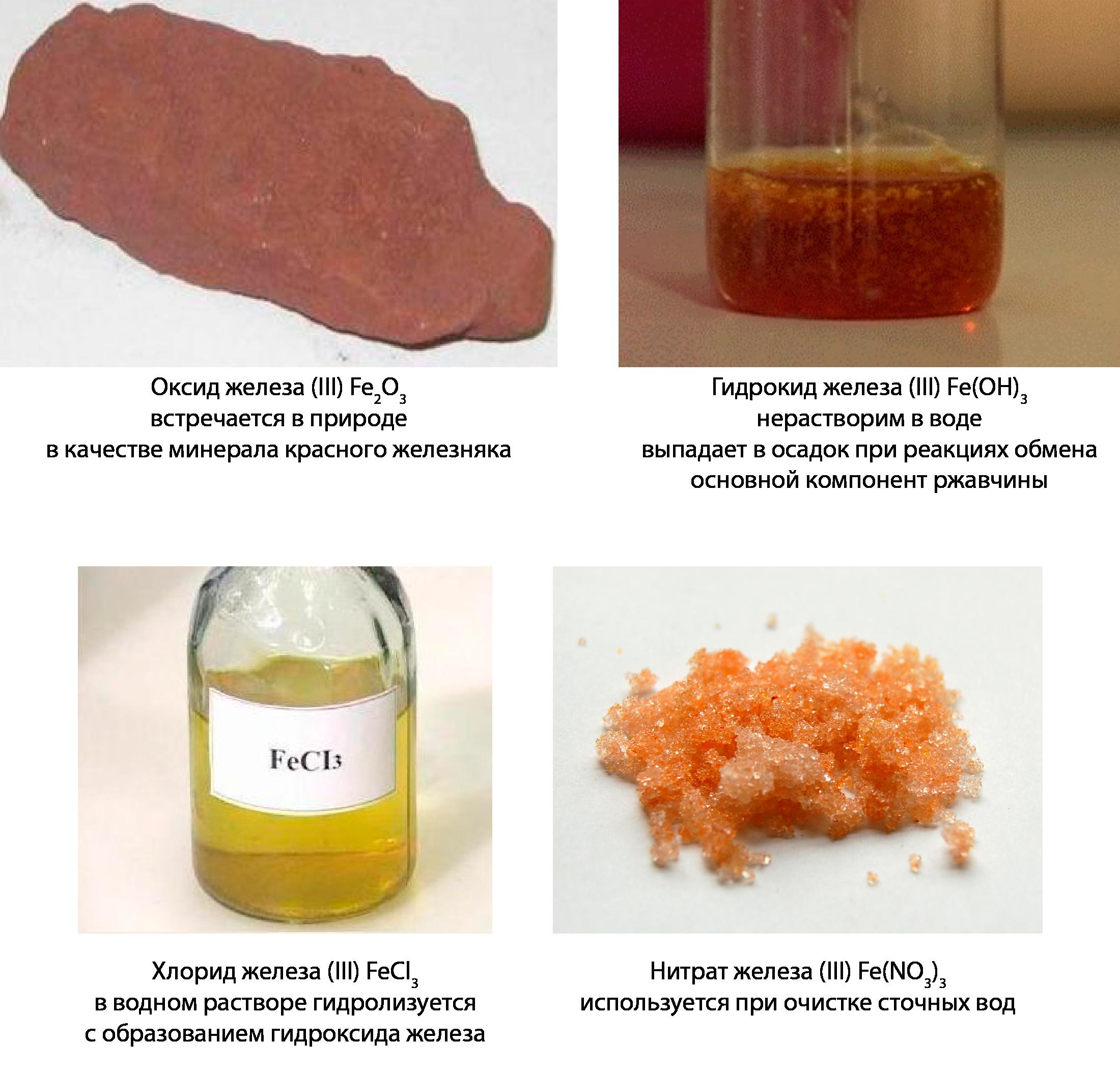 Fe3+ придают химическим соединениям бурые и тёмно-оранжевые оттенки