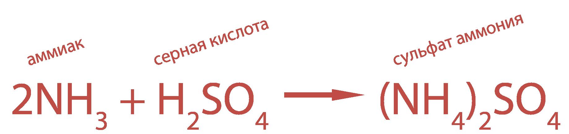 аммиак NH3 с серной кислотой немедленно образует сульфат аммония